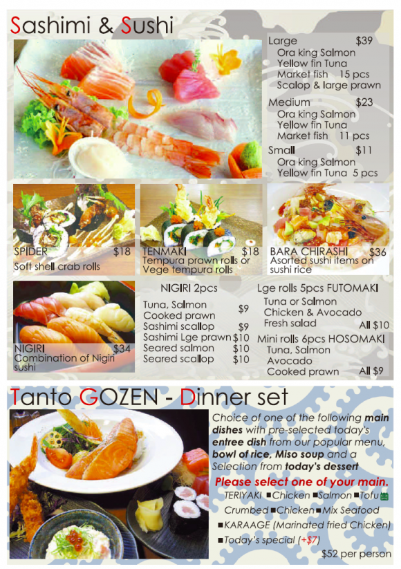 Dinner menu - TANTO Japanese Dininng