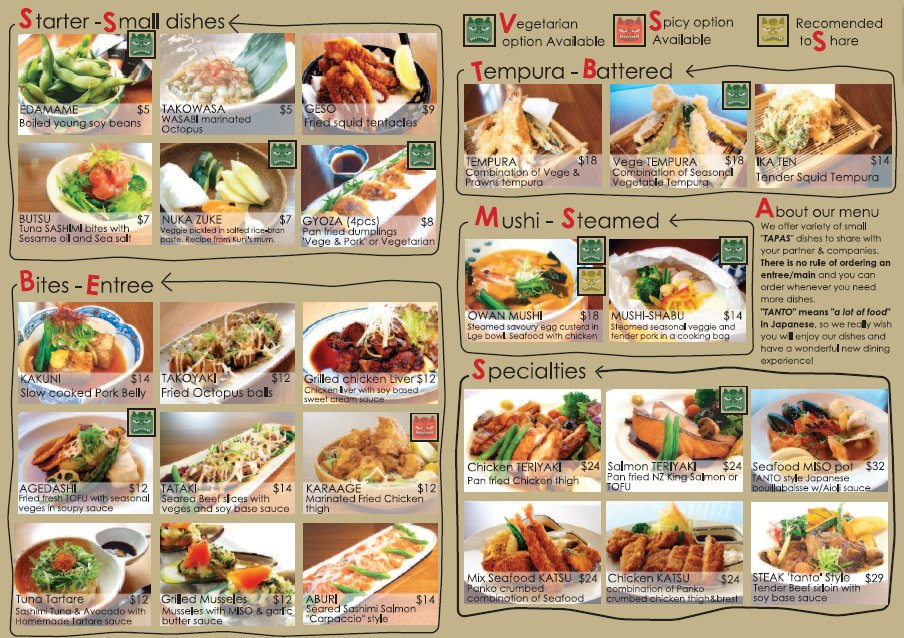 Japanese restaurant menu for Asian cuisine menu