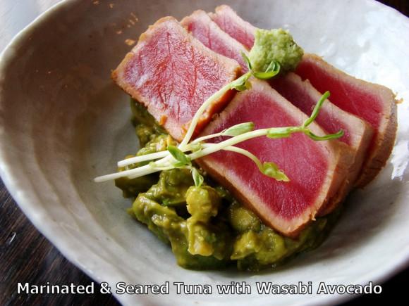 Marinated & Seared yellow fin tuna with Wasabi Avocado