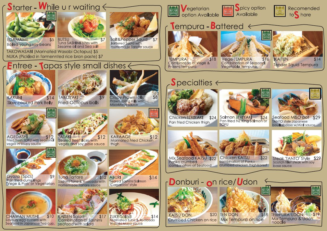 Tanto japanese dining dinner menu japanese restaurant for Asian cuisine menu