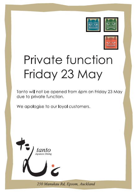 Private function on Friday 23 May - Tanto Japanese Dining