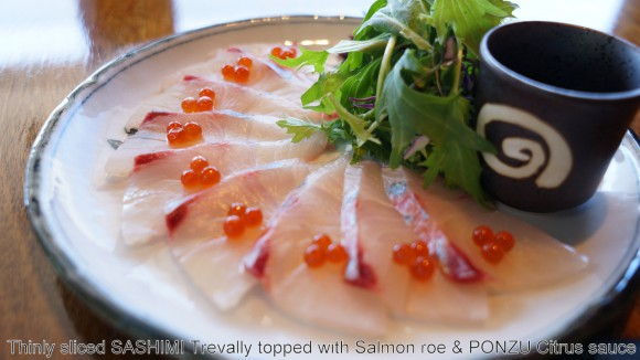 Thinly sliced SASHIMI trevally with PONZU Citrus sauce