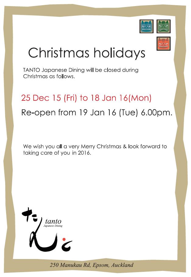 Christmas Holidays - TANTO Japanese Dining