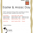 TANTO Japanese Dining will be operating as follows during the Easter Holidays and Anzac Day: Good Friday (April, Friday 14th) Closed Easter Saturday (April, Saturday 15th) OPEN from 6pm (Not […]