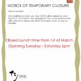 Dear Customers, We would like to inform you that TANTO will be closed at Lunchtime from 1st of March. We apologize for any inconvenience and will continue to make every […]