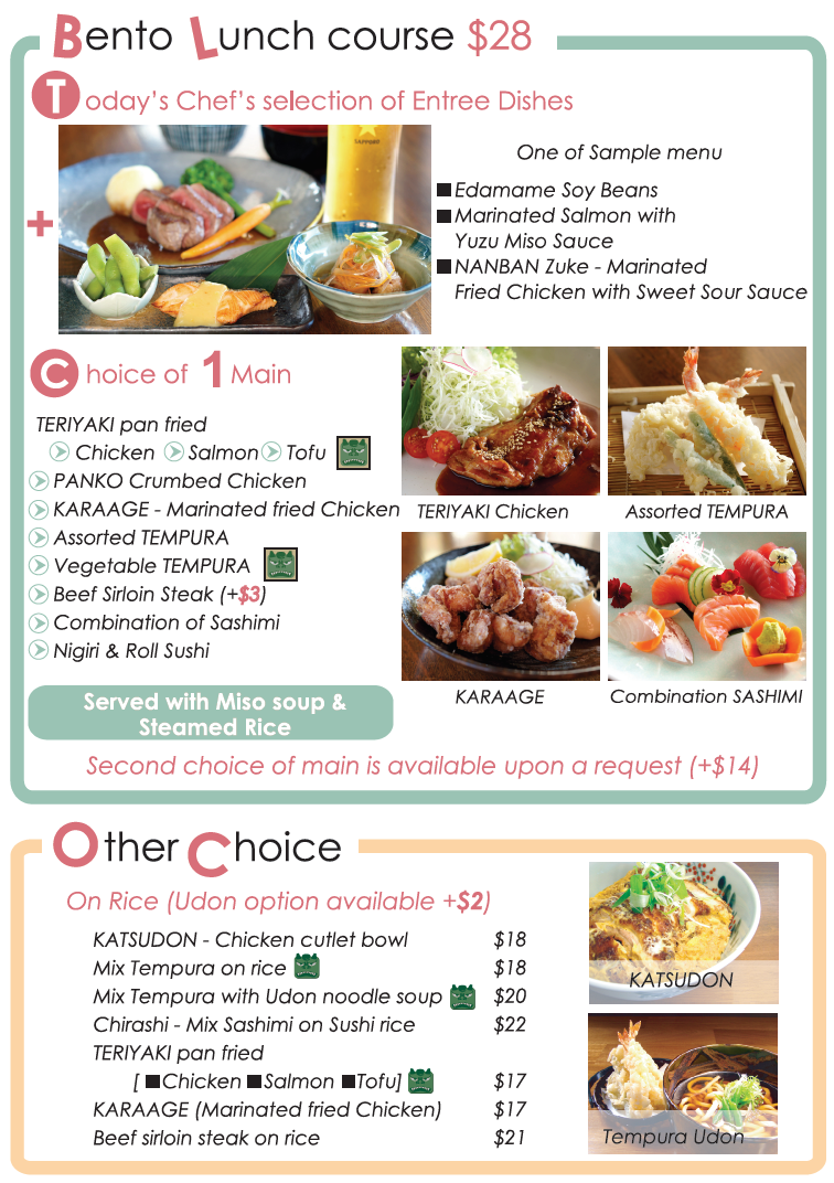 Lunch MEnu - Tanto Japanese Dining