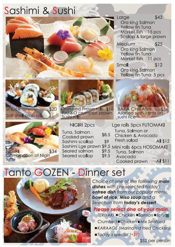 Dinner Menu - TANTO Japanese Dining
