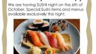 We are especially open on Sunday 6th of October! We are having SUSHI night again on the 6th of October. Special Sushi items and menus available exclusively this night. Last […]